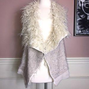 Double Zero Furry Sweater Vest in Blush